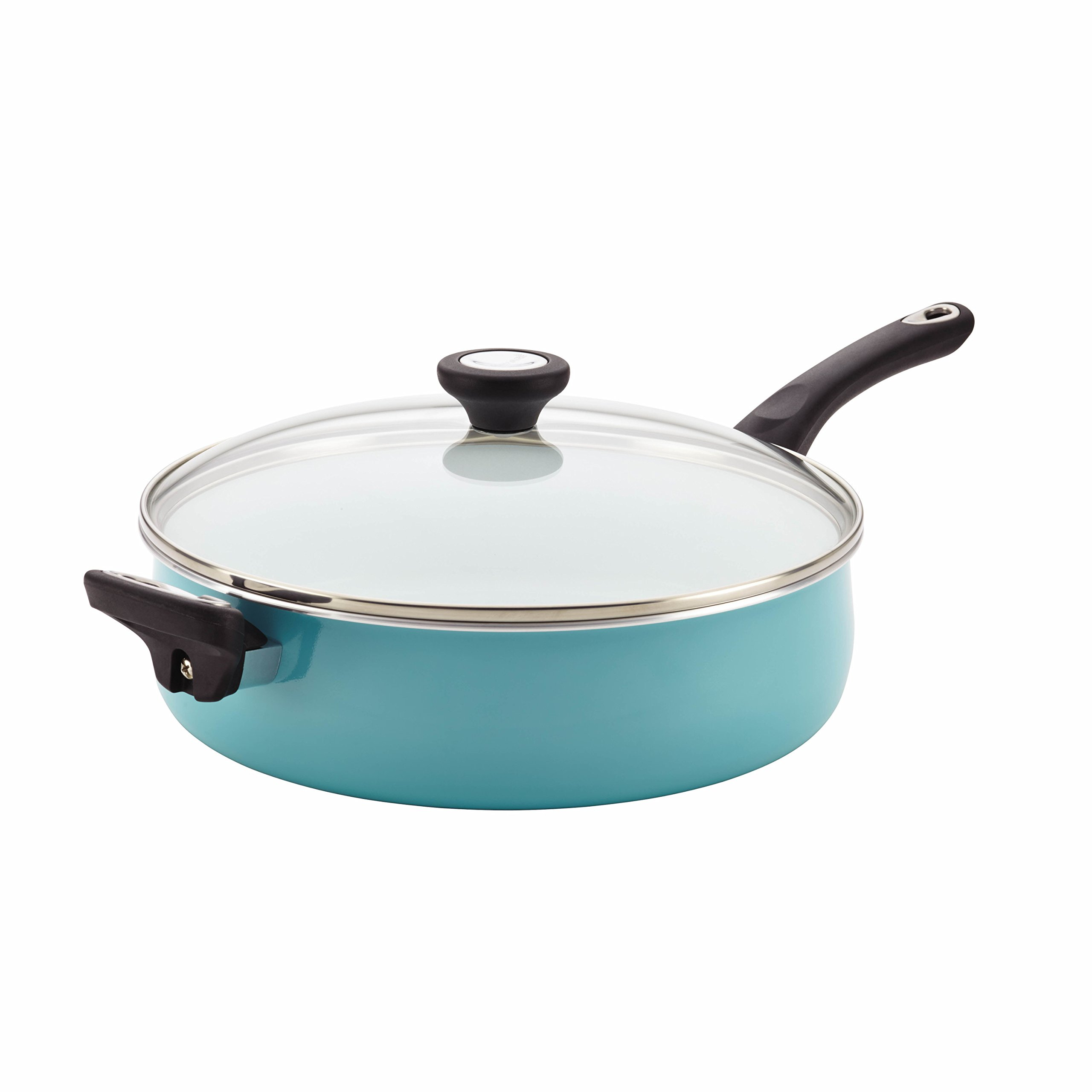 Farberware 17497 PURECOOK Ceramic Nonstick Jumbo Cooker/Saute Pan with Helper Handle - 5 Quart, Blue