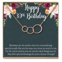 Dear Ava 39th Birthday Gift Necklace: Birthday Gift, Jewlery Gift for Her, 3 Asymmetrical Circles