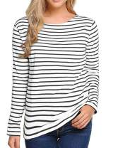 Women's Long Sleeve Striped T Shirt Round Neck Cotton Causal Blouses Tops