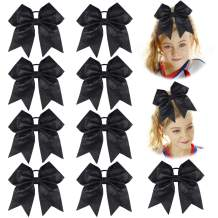 "DEEKA 12PCS 8"" Large Cheer Hair Bows Ponytail Holder Elastic Band Handmade for Teen Girls Softball Cheerleader Sports"