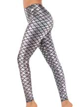 Alaroo Halloween Shiny Fish Scale Mermaid Leggings for Women Pants S-4XL