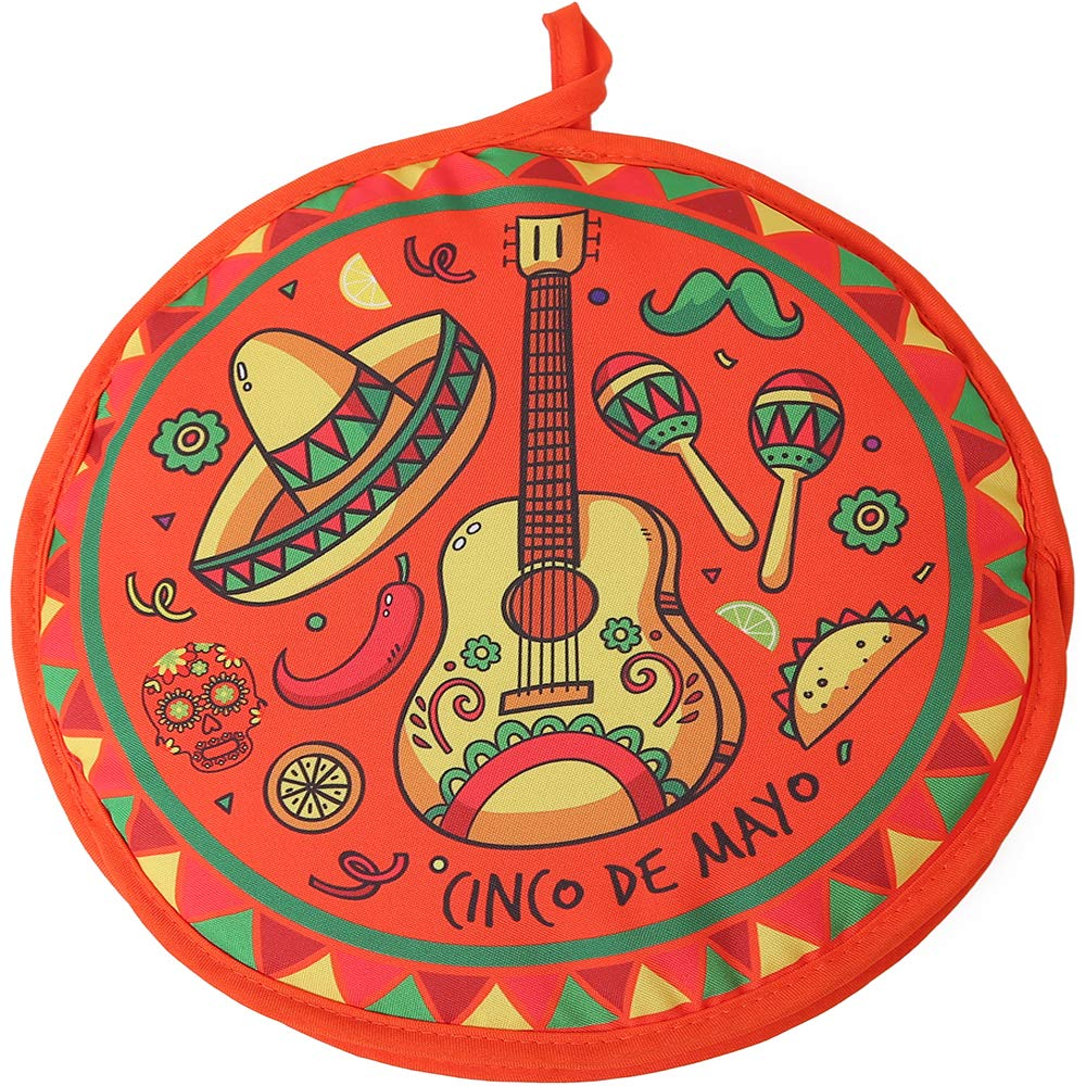 DOKKIA Tortilla Warmer 12 Inch Insulated Cloth Pouch - Microwavable Use Fabric Bag to Keep Food Warm for up to One Hour (12 Inch, Cinco De Mayo Guitar Sombrero Maracas)