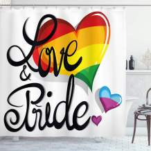 """Ambesonne Pride Shower Curtain, Vibrant Big and Little Hearts Gay Lesbian Transsexual Romantic Design Love and Pride, Cloth Fabric Bathroom Decor Set with Hooks, 84"""" Long Extra, Black Red"""