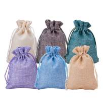 BENECREAT 30Pack 6 Color Burlap Bags with Drawstring Gift Bags Jewelry Pouch for Valentine's Day, Wedding Party and DIY Craft Packing, 5.3 x 3.7 Inch