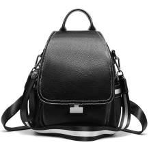On Clearance Sale Heshe Women Leather Backpack Daypack Flap Backpack (Black)