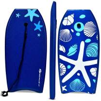 Goplus Body Board, Lightweight Bodyboard with EPS Core, XPE Deck, HDPE Slick Bottom, Premium Leash & Adjustable Wrist Rope, Perfect Surfing for Kids and Adults