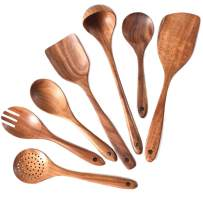 Wooden Spoons for Cooking,Wooden Cooking Utensils Set for Nonstick Cookware,7 Piece Kitchen Utensils Set Of Thailand Teak Wooden,Long Handle Wooden Spoon,Wooden Larger Spatula,Wooden Spoons