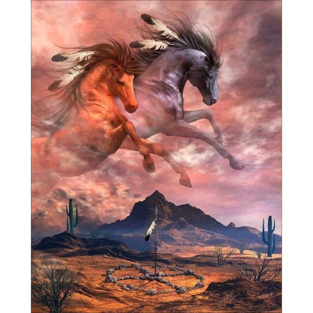 Norbi Painting with Diamonds Leaping Horses Embroidery Diamond by Number Kits Rhinestone Painting Cross Stitch Kit Wall Art Decor for Kids Adult Beginner