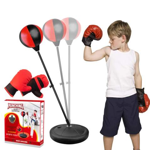 YOOVEE Punching Bag for Kids Incl Boxing Gloves , 3-8 Years Old Adjustable Kids Punching Bag with Stand , Boxing Bag Set Toy for Boys & Girls