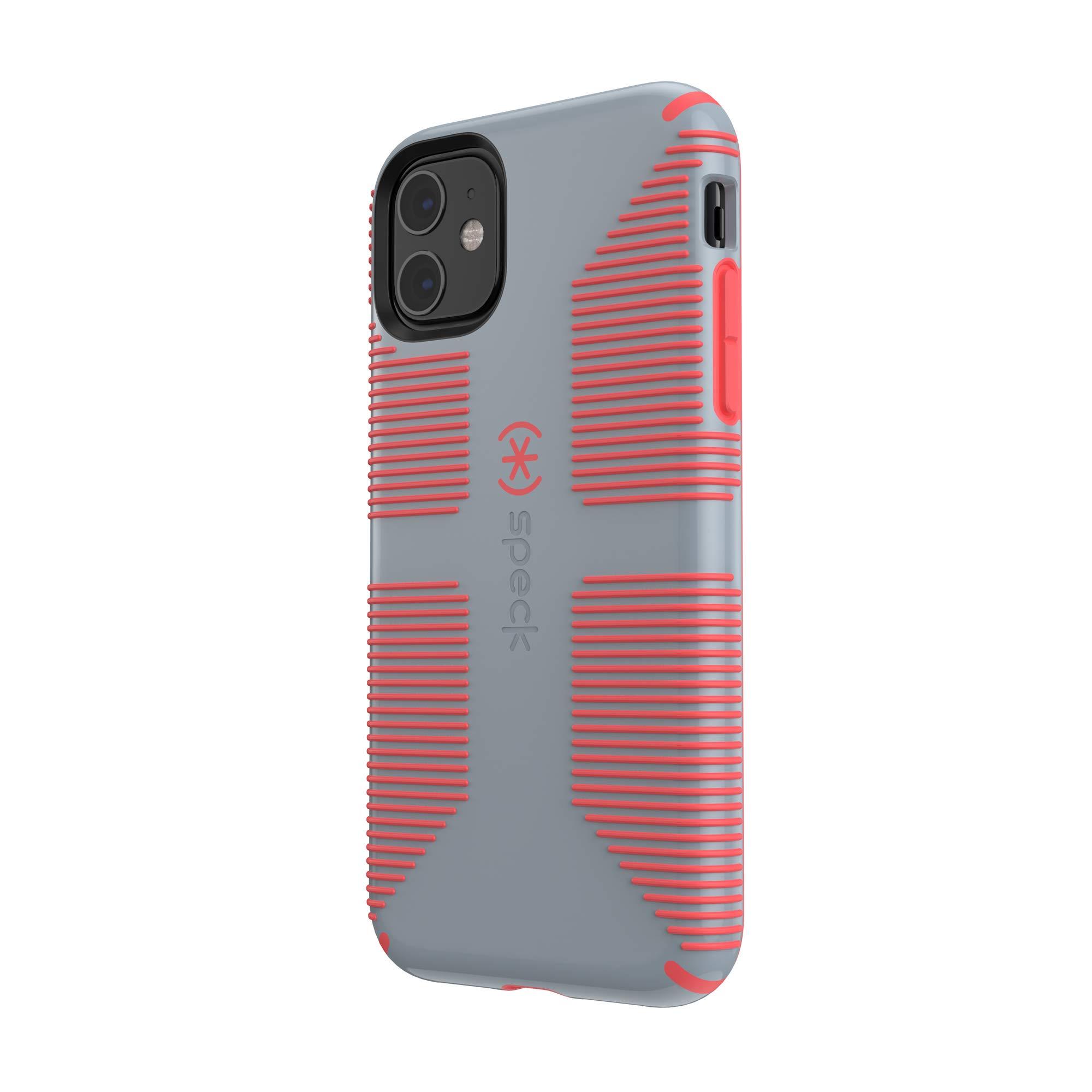 Speck CandyShell Grip iPhone 11 Case, Nickel Grey/Warning Orange