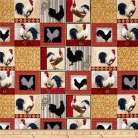 Fabri-Quilt Rooster Inn Patchwork Multi Fabric by The Yard