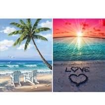 Ginfonr 2 Pack 5D DIY Diamond Painting Lover Beach Full Drill by Number Kits, Paint with Diamonds Art Embroidery Rhinestone Crystal Cross Stitch Decor (12 x 16 inch)