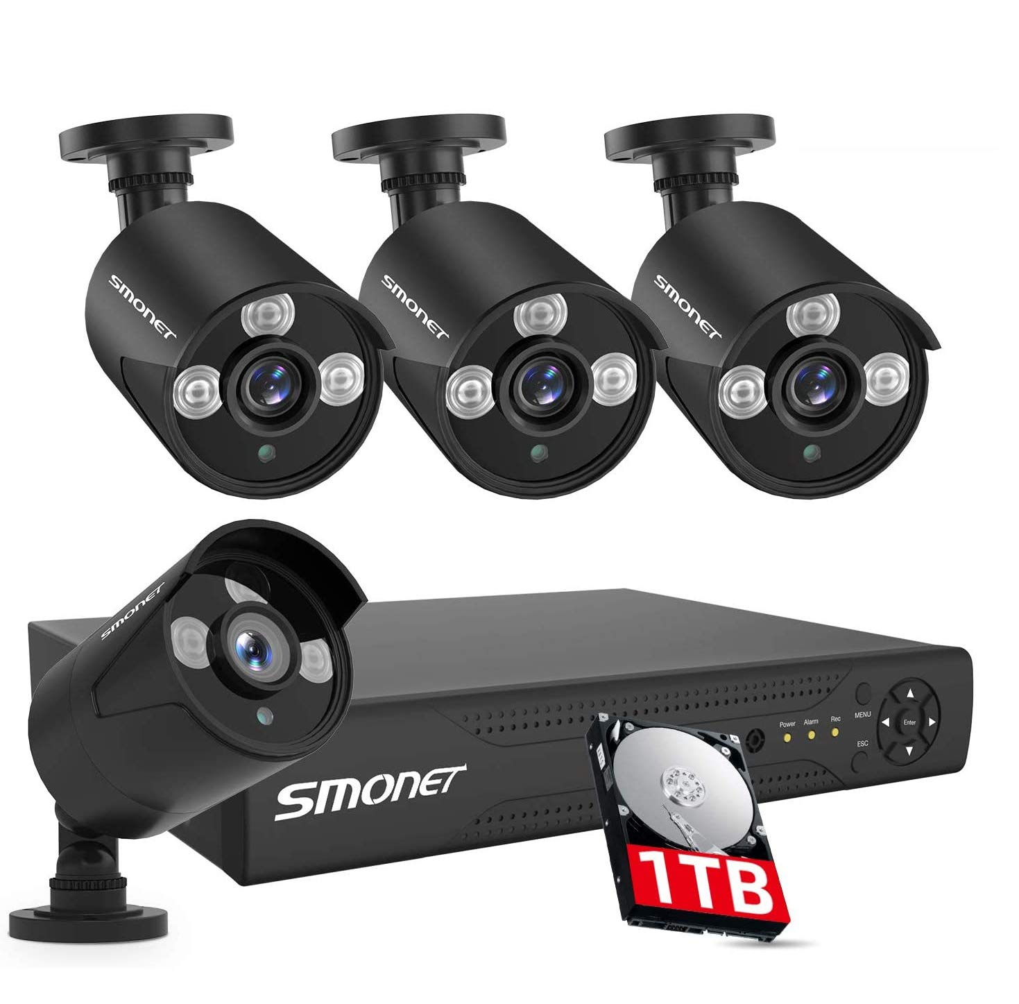 【8CH Expandable】 SMONET Security Camera Systems,8CH 5MP Home Security Camera Systems (1TB Hard Drive),Wired Security Systems with 4pcs 1080P Indoor Outdoor Security Cameras,IP66 Waterproof,Remote View