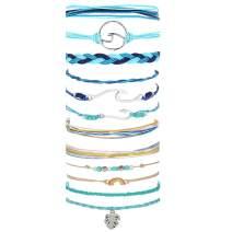 Dcfywl731 Vsco Bracelet for Women Wave Strand Bracelet Set Adjustable Friendship Bracelet Braided Rope Waterproof Handmade Bracelet Sets …