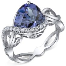 4.00 Carats Simulated Alexandrite Ring Sterling Silver Heart Shape Swirl Design Sizes 5 to 9