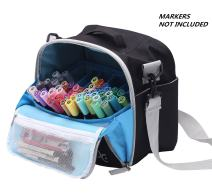 Large Storage Tote Bag for Marker Pens Brush Pen Coloring Pencils Books Art and Crafts Supplies Tools Cosmetics, Up to 130 Pens,Black