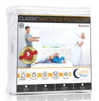 CALM NITE Mattress Pad Protector - Waterproof & Hypoallergenic Cover, Vinyl Free Topper - Machine Washable… (King 76 x 80)