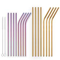 Berglander Reusable Titanium Plated Stainless Steel Golden Drinking Straw and Colorful Drinking Straws Straight and Bent Metal Straws with Brushes for Milkshakes, Frozen Drinks, Smoothies, Set of 18