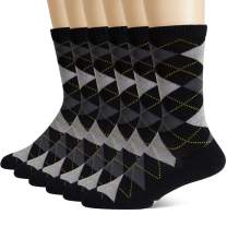 +MD 6 Pack Mens Argyle Dress Socks Moisture Wicking Bamboo Socks Cushioned Crew Socks