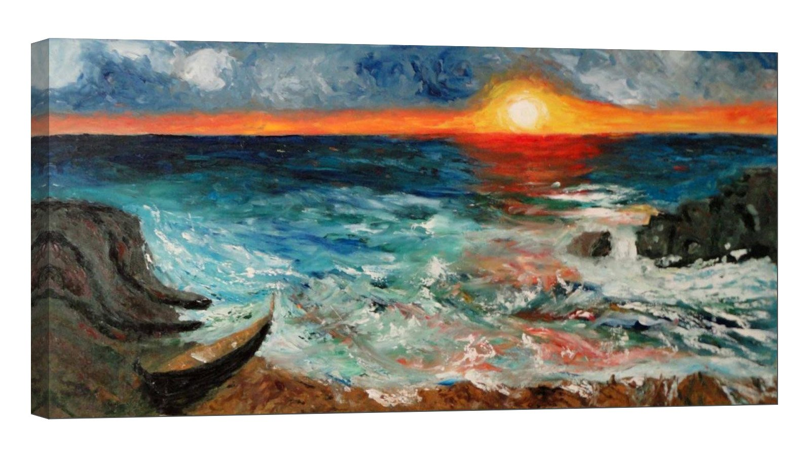 Glow in The Dark Canvas Painting - Stretched and Framed Giclee Wall Art Print - Like Oil Painting Sunset On The Beach - Master Bedroom Living Room Decor - 46 x 24 inch