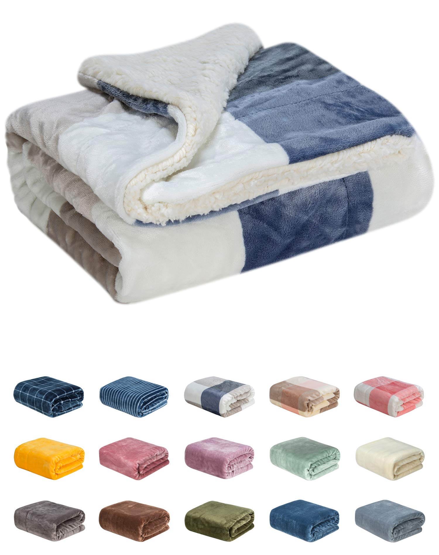 WONDER MIRACLE Fuzzy Sherpa Double Layers Super Thick and Warm Fleece Reversible Infant,Baby,Toddler,pet Blanket for Crib, Stroller, Travel, Couch and Bed (40Wx50L, S-Blue Grid)