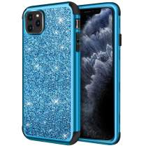 Hython Case for iPhone 11 Pro Max, Heavy Duty Full-Body Defender Protective Case Bling Glitter Sparkle Hard Shell Armor Hybrid Shockproof Rubber Bumper Cover for iPhone 11 Pro Max 2019, Blue