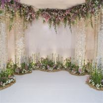 AOFOTO 6x6ft Arch for Wedding Ceremony Backdrop Interior Romantic Flower Canopy Archway Banner Photography Background Bride Girlfriend Lovers Fiancee Nuptial Decoration Studio Props Vinyl Wallpaper