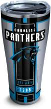 Tervis 1317586 NFL Carolina Panthers Blitz Stainless Steel Insulated Tumbler with Clear and Black Hammer Lid, 30 oz, Silver