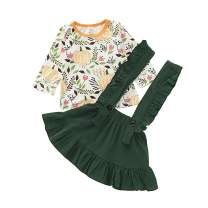 My First Thanksgiving Toddler Baby Girl Clothes Ruffle Sleeve Top +Suspender Skirt Dress Outfit Set