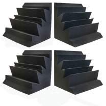 "Set of 4 - Acoustic Foam Bass Trap Studio Soundproofing Corner Wall 12"" x 12"" x 12"" - Color: Charcoal"