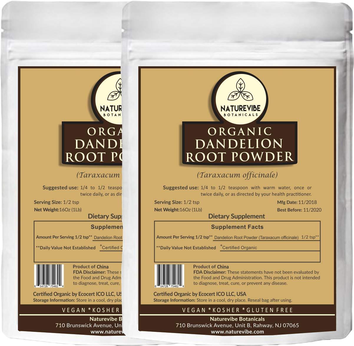 Naturevibe Botanicals Organic Dandelion Root Powder 2lbs (2 pack of 1lb each), Taraxacum officinale   Non-GMO & Gluten Free   Skincare