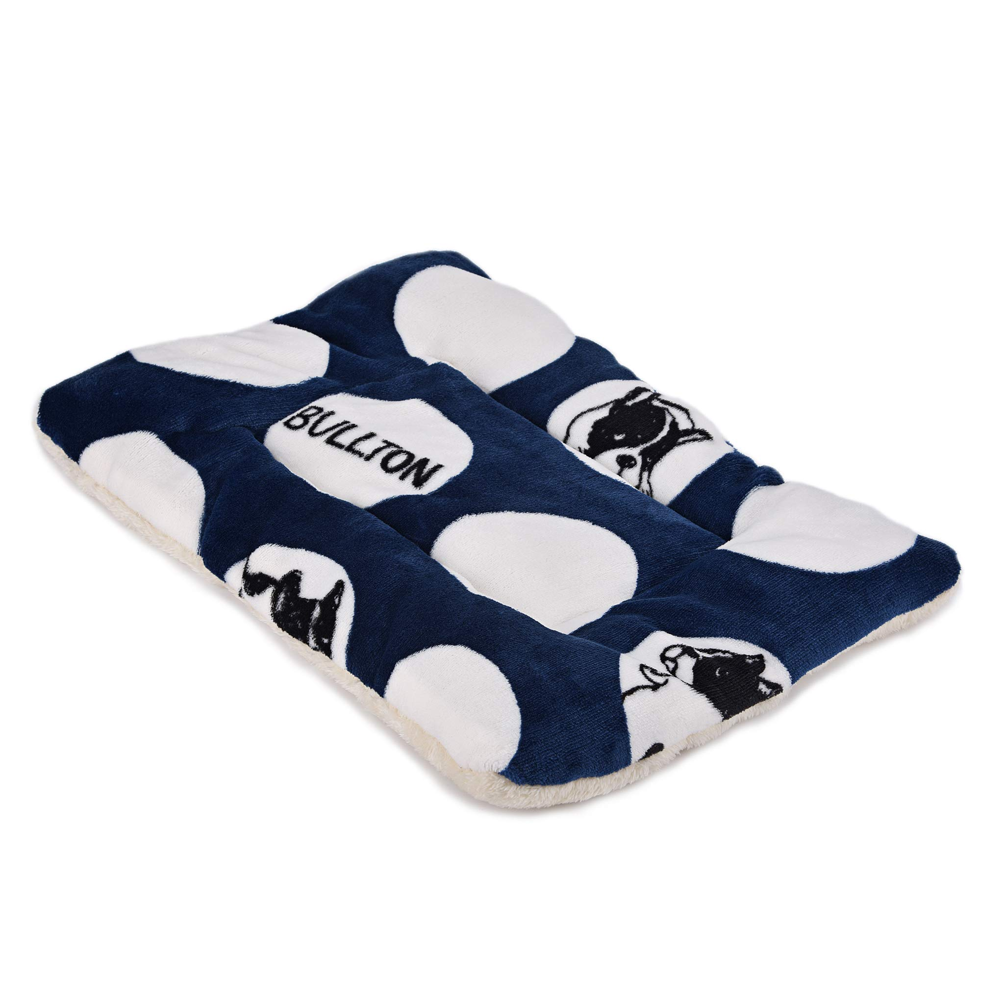 SEKAYISORE Double-Sided Flannel Pet Sleep Mat, Super Soft Dog and Cat Bed Mat with Three-Dimensional Prints, Machine Washable Dog Crate Kennel Pad, Dark Blue XL