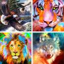 4 Pack 5D Diamond Painting Lion Tiger Wolf Eagle by Number Kits Beast Full Drill, Ginfonr DIY Paint with Diamonds Animal Craft Embroidery Rhinestone Art Cross Stitch Decor (12x12 inch)