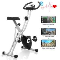 FUNMILY Exercise Bike, Folding Exercise Bike with Big Heart LCD Rate Monitor & Comfortable Seat Cushion for Home Cardio Workout