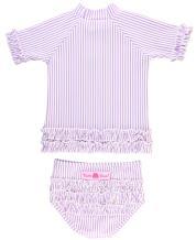RuffleButts Baby/Toddler Girls Seersucker Rash Guard 2-Piece Short Sleeve Swimsuit Set with UPF 50+ Sun Protection