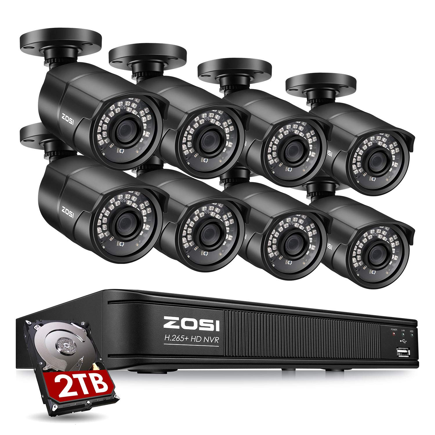 ZOSI 1080p H.265+ PoE Home Security Camera System Outdoor Indoor,8CH 5MP PoE NVR Recorder and (8) 1080p Surveillance Bullet IP Cameras with 120ft Long Night Vision ( 2TB Hard Drive Built-in)
