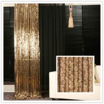 TRLYC 5 by 6Ft Sparkly Gold Christmas Sequin Backdrop Wedding Baby Shower Backdrop