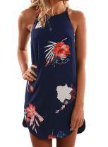 Asvivid Womens Halter Floral Printed Sleeveless Beach Mini Casual Dress Summer Short Sundresses