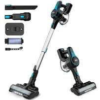 INSE Cordless Vacuum Cleaner, 6 in 1 Powerful Suction Lightweight Stick Vacuum with 2200mAh Rechargable Battery, Up to 45min Runtime, Ideal for Home Furniture Hard Floor Carpet Car Pet Hair-N5 Blue