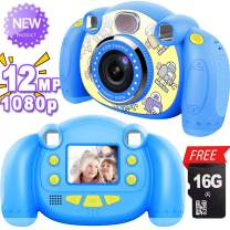 【2019 New】Kids Camera, AMENON Digital Video Camera Gift for Age 4-10 Year Old Girls Boys, Funny Photo Frames and Shockproof Camera Creative DIY Camcorder with [Free 16GB SD Card] Christmas Gifts