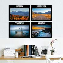 Welmeco 4 Packs Inspirational Canvas Prints Wall Art Success Ambition Resoluction Persistence Motivation Quote Words Framed Landscape Picture Decoration for Home Office Decor (02 Wisdom) (01, 12x16x4)