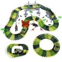 Max Fun Race Track Dinosaur Toys 165PCS Create A Dinosaur World Flexible Track Playset fo Kids Party Favors