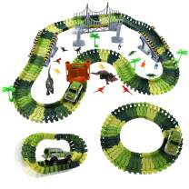 Max Fun Race Track Dinosaur Toys 165PCS Create A Dinosaur World Flexible Track Playset fo Kids Party Favors
