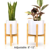 Mid Century Plant Stand - Non-Wobbly - Modern Indoor Plant Holder for House Plants, Home Decor - Wood - Fits Planter 8 to 12 Inches - Excludes Plant Pot (Natural 2-Pack)