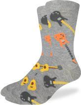 Good Luck Sock Men's Guitars Crew Socks - Grey, Adult Shoe Size 7-12