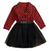 Little Kids Baby Girl Dresses White and Black Plaid Tutu Skirt Party Princess Formal Outfit Clothes