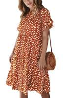 Fixmatti Women Casual Dress V Neck Short Sleeve Polka Dot Loose T Shirt Dress