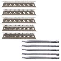 Votenli S9518A (5-Pack) S1560A (5-Pack) Replacement Repair Kit for Master Forge 3218LT,3218LTN, L3218, 5 Burner Gas BBQ Grill SS Burners and Heat Plates