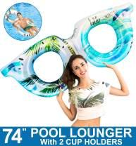 "74"" Giant Inflatable Sunglasses Rings Swim Pool Toys Pool Float Lounge for Adults with 2 Cup Holder, Summer Beach Pool Floats Toys Swimming Pool Party Games Toy Raft Chair Kids Boy Girl(Blue/Purple)"