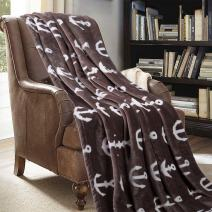 JML Throw Blanket for Couch - Super Soft Lightweight Microfiber Fuzzy Flannel Blanket Throw, Shawls and Wraps for Adults or Pet - Brown Anchor